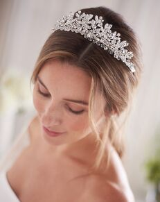 Dareth Colburn Floral Cascade Swarovski Crystal Crown (TI-3233) Silver Tiara