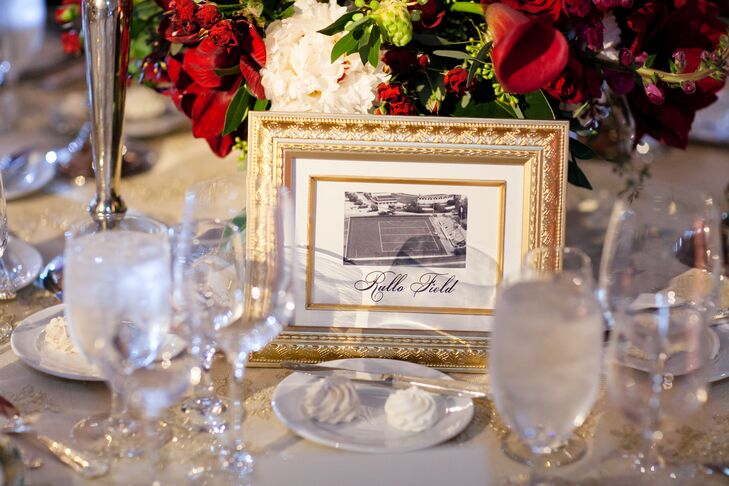 Though the wedding's overall feel was timeless and traditional, Grier and Jonathan thought a little outside the box when it came to their table names. Instead of using standard numbers to help guests find their seats, the pair named each table after an historic Delaware landmark, which they paired with a vintage photo of the spot.