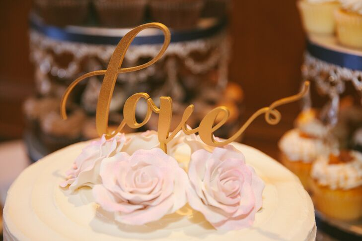 """Gold Calligraphic """"Love"""" Cake Topper with Pink Roses"""