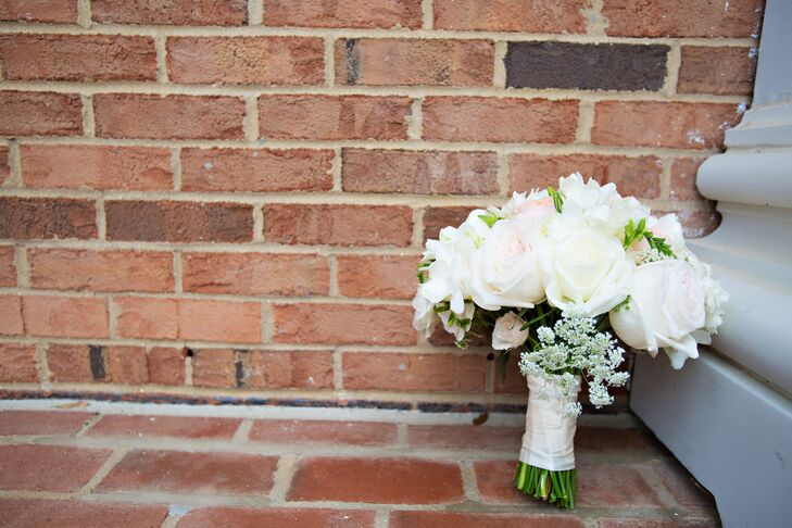 For her bouquet, Hailey opted for a classic, elegant style. The bouquet was filled with ivory and blush roses accented with small bunches of Queen Anne's lace.