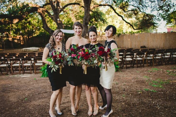 The bridesmaids chose their own black dresses for the wedding, which they paired with metallic pumps.