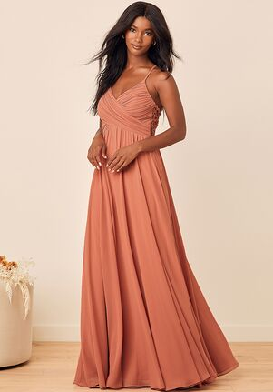 Lulus Slow Dancing Rusty Rose Lace Maxi Dress V-Neck Bridesmaid Dress