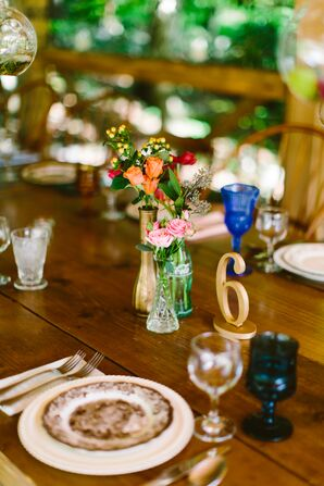 Wood Reception Tables with Bud Vase Centerpieces