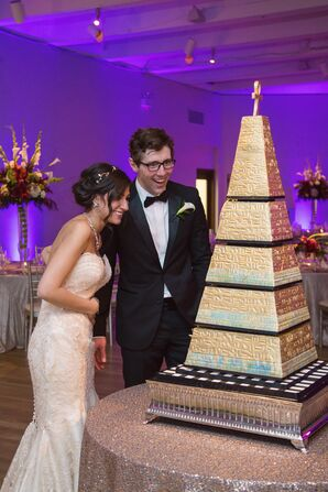 Gold Five Tier Pyramid Cake