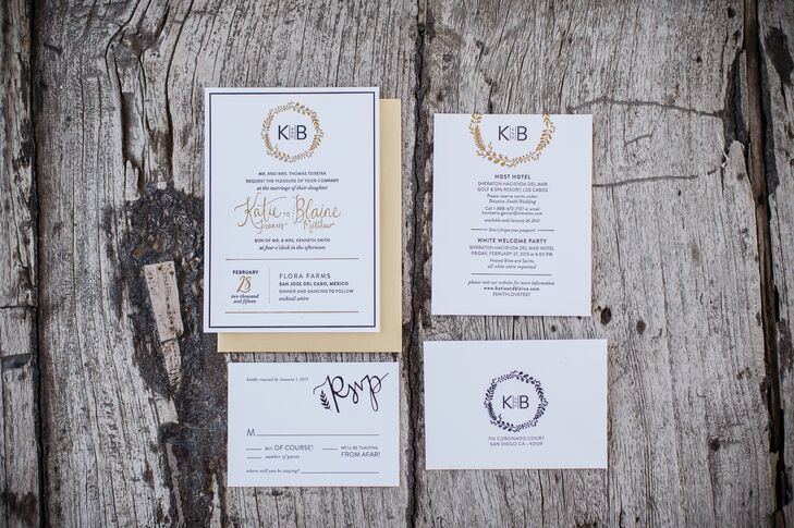 Katie and Blaine wanted stationery that was elegant yet simple. To satisfy both, they created their own logo for their big day.
