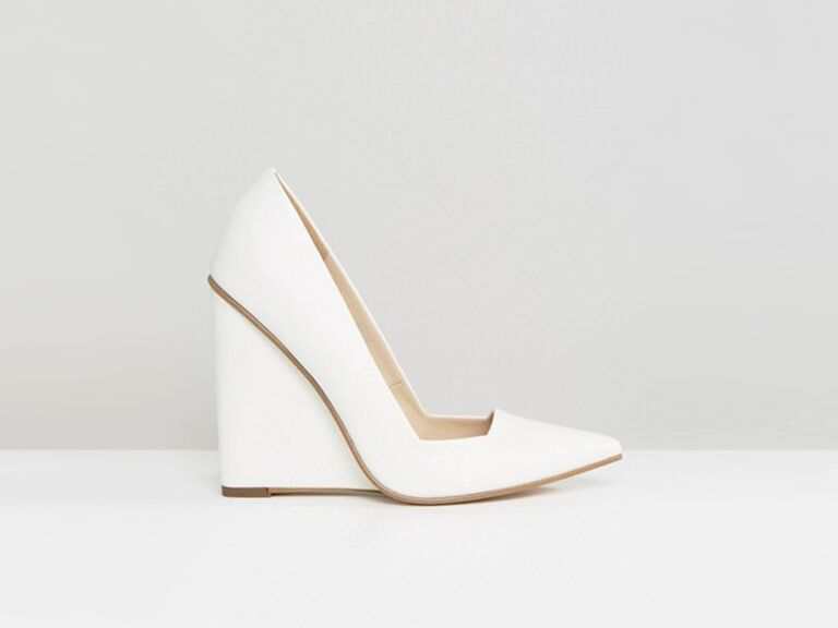 ASOS Pulse white wedding wedges