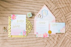 Whimsical Watercolor Invitation Suite with Custom Crest