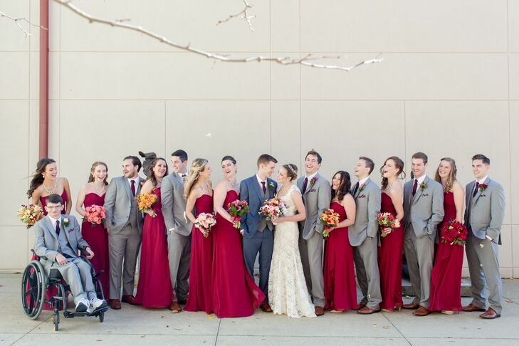 Bridesmaids in Strapless Burgundy Chiffon Gowns