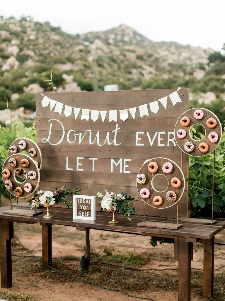 Rustic wood donut wall display