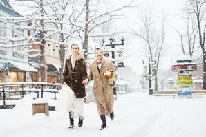 Winter Walking Wedding Transportation