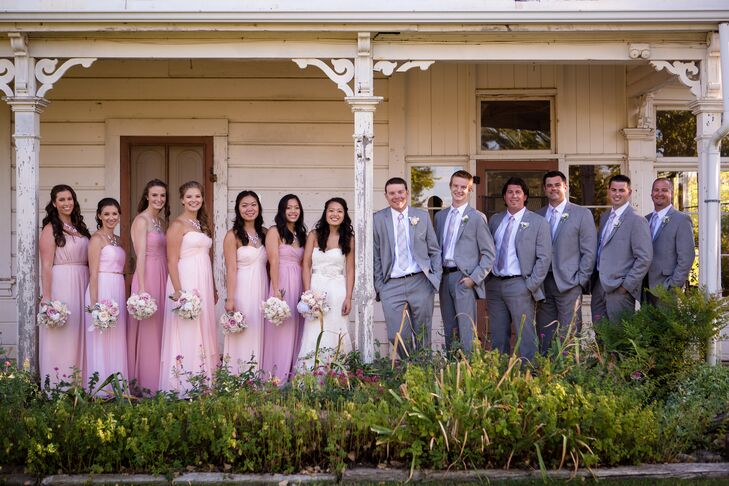 """I let all my bridesmaids choose their own dresses, as long as it was in the blush/light pink family of colors and was a long chiffon style,"" Keviann says. ""For the groom and groomsmen, they all wore gray suits with a white shirt and matching gray- and pink-patterned ties with black shoes."""
