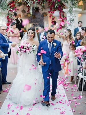 Traditional Recessional with Pink Rose Petal Toss