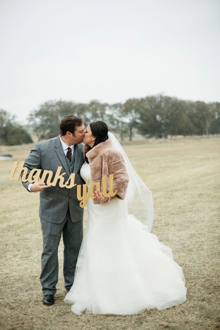 "Jessica's vision for the day—a rustic, Texas ranch wedding with a luxurious twist—meant featuring antique and handcrafted items. ""Although I had Marcy Blum and Todd Fiscus helping me, I wanted to add in elements of John and me,"" Jessica says. ""I wanted my guests to look at things and say, 'I bet Jess made that.' """
