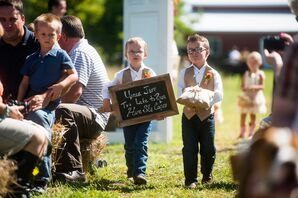 Casual Ring Bearer Look with Chalkboard Sign
