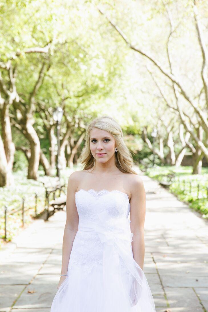 Loose Half-Up Bridal Hairstyle and Soft Makeup