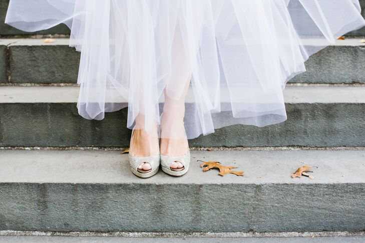 Lillian wore a pair of sparkly Jimmy Choo peep-toes that glimmered beneath her tulle skirt. She wore very few delicate, sparkly jewelry pieces to complement her look but let her shoes be the central focus.