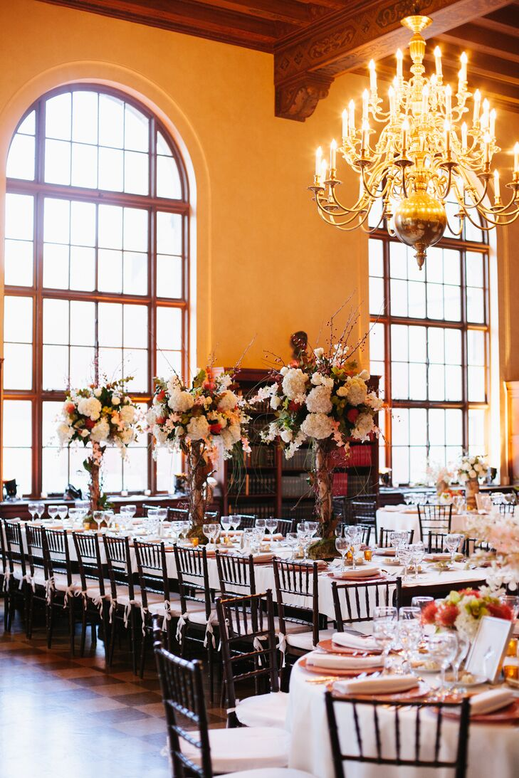 Tall Centerpieces and Chandelier at New York Academy of Medicine Reception