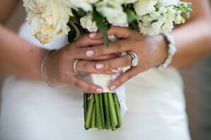 Silver Wedding Rings and Pink Manicure