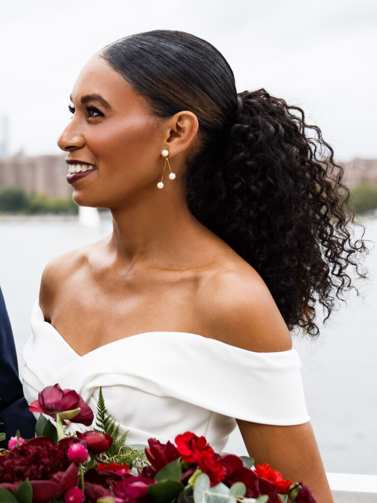 wedding updos sleek low ponytail