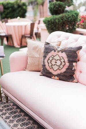 Blush Pink Couch with Beaded Pillow