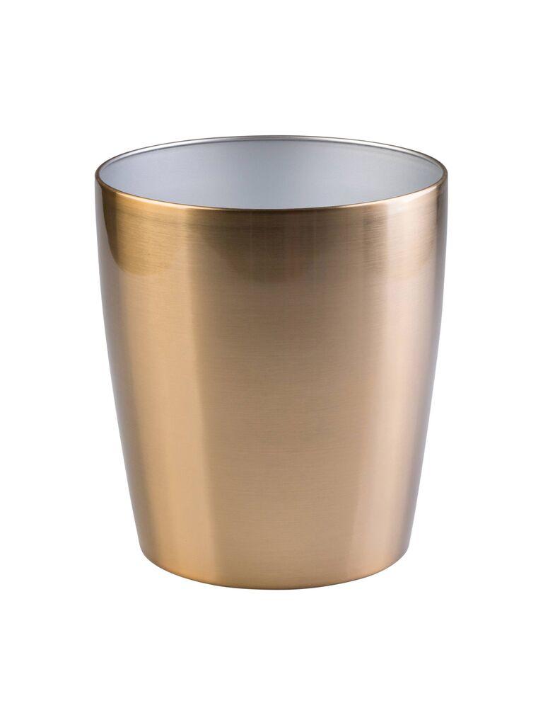 Steel wastebasket registry gift