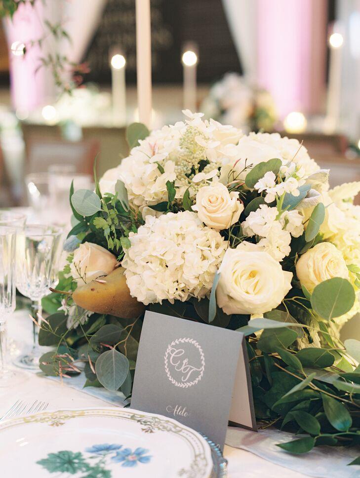 Ivory Hydrangea and Rose Centerpiece
