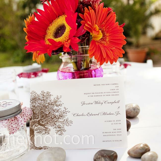 """""""We loved our invitations because they had a large oak tree on them,"""" Jessica says. """"To us, that was perfect for the farm."""""""