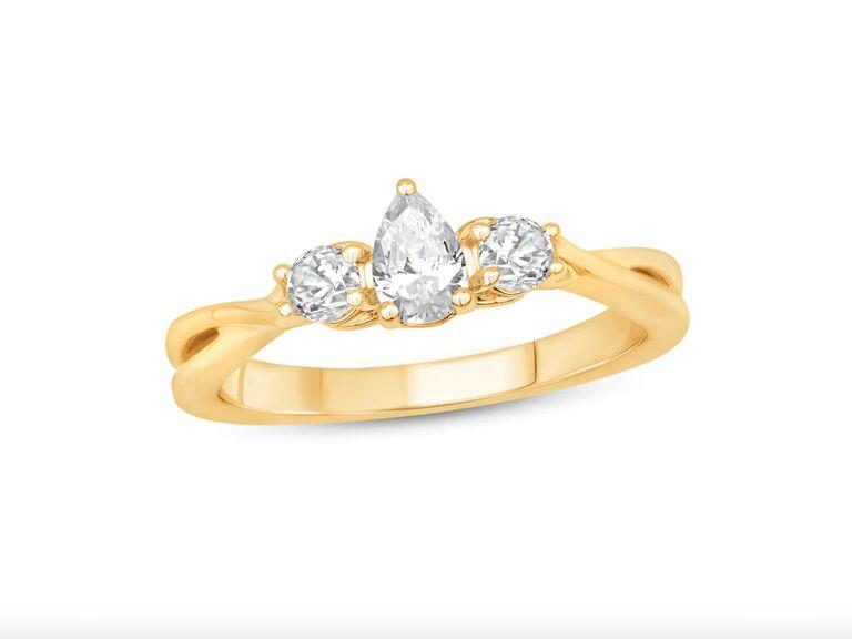 Kay Jewelers three-stone diamond engagement ring in 14K yellow gold