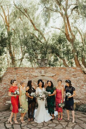 Wedding Party Portraits at The Houdini Estate in Los Angeles, California