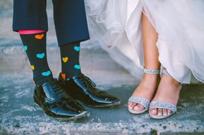 Black Socks with Hearts and Sparkly Heels