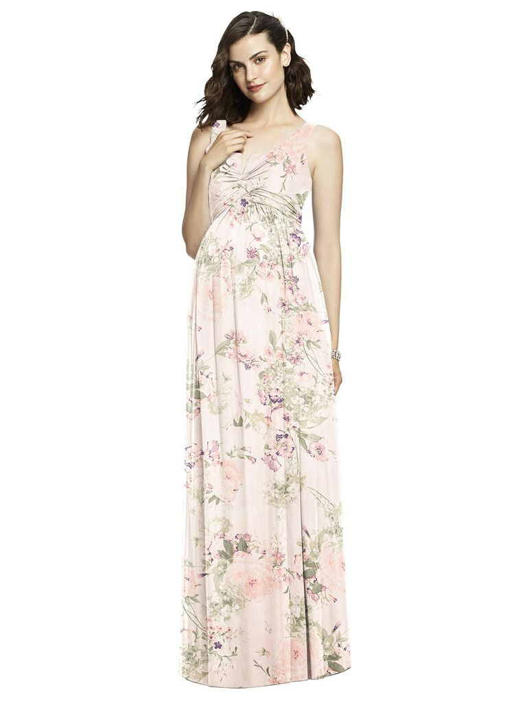 Floral blush maternity bridesmaid dress