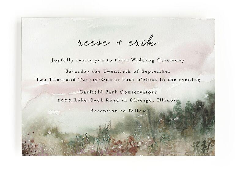 Nature inspired fall wedding invitation