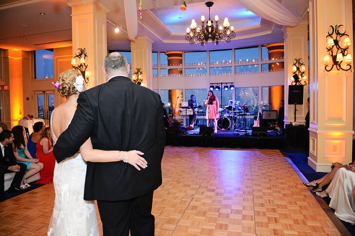 "Instead of a DJ, Ashley and Matthew hired the band Men in Black to provide the soundtrack for the evening. They didn't disappoint. Following the couple's first dance to Ed Sheeran's ""Thinking Out Loud"" the dance floor was packed all night long."