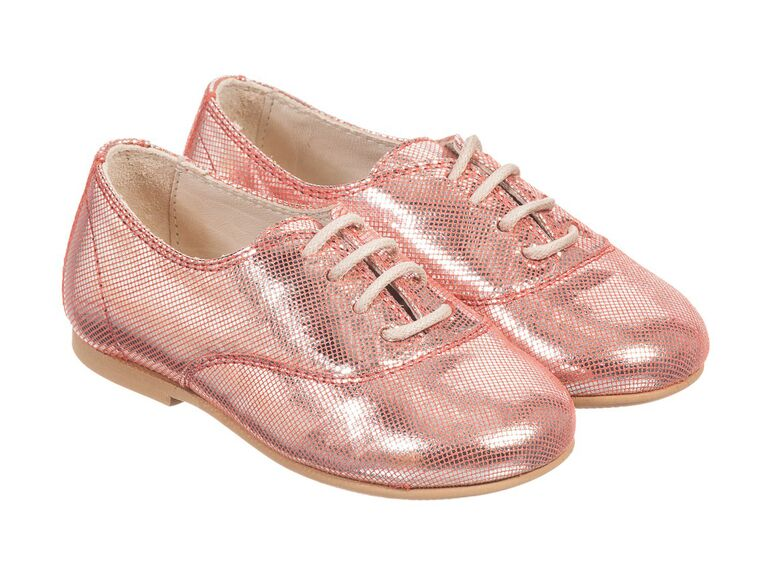 Pink shiny flower girl shoes