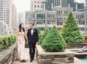 Art Deco Bridal Style and Classic Groom's Tuxedo
