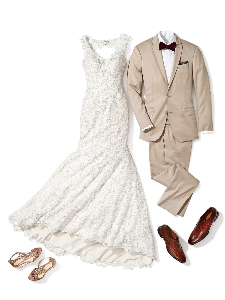 e73c545a9ca Lace bridal gown and tan suit for a rustic wedding