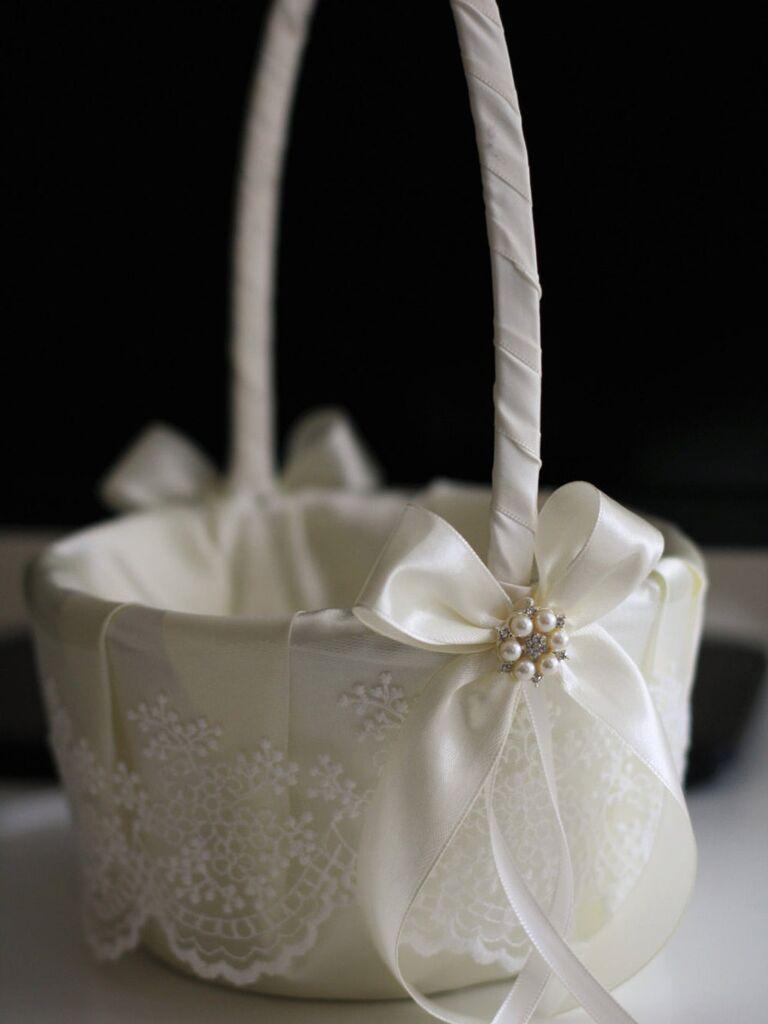 ivory satin flower girl basket