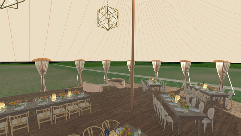Merri 3D visual planning wedding tent outdoors