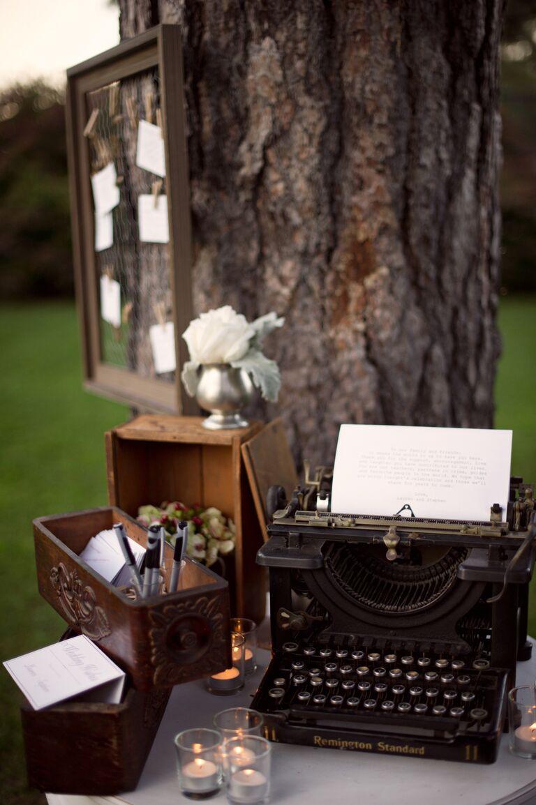Vintage typewriter guest book.