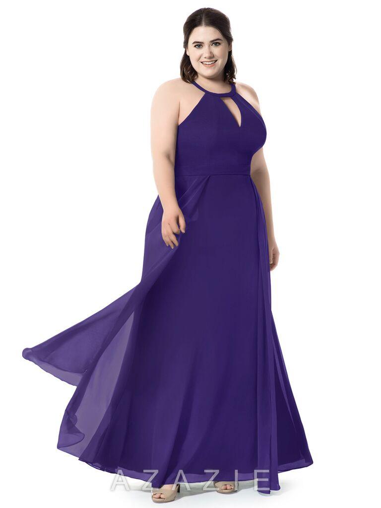 Purple plus-size bridesmaid dress