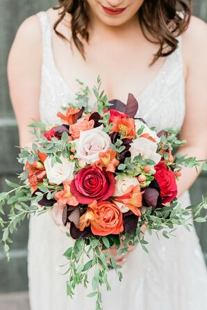 Rustic, Modern Bouquet with Red, Orange and Pink Flowers