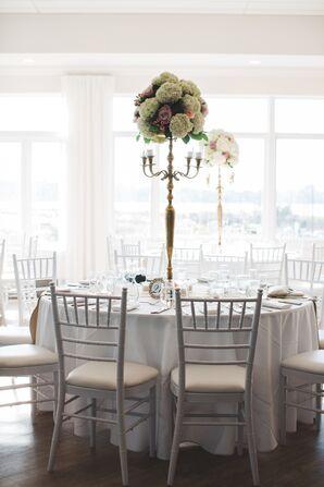 Modern Rhode Island Reception With Tall Candelabra Centerpiece