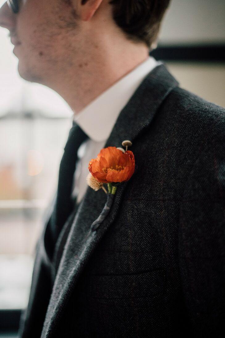 Vintage-Inspired Red Silk Poppy Boutonniere