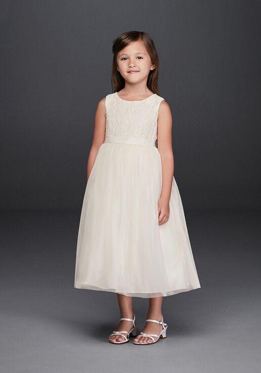 David's Bridal Flower Girl David's Bridal Style OP222 White Flower Girl Dress
