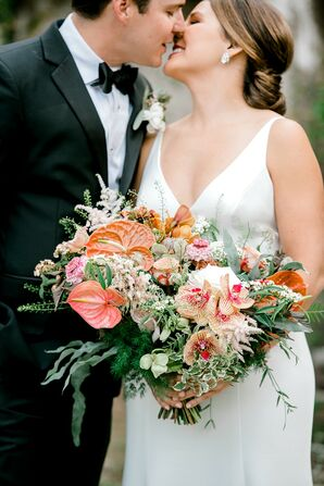 Elegant Bouquet with Anthurium, Orchids, Wildflowers and Leaves