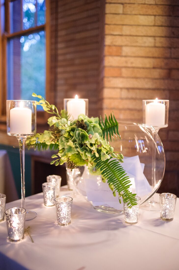 Card Table with Green Flower Arrangement