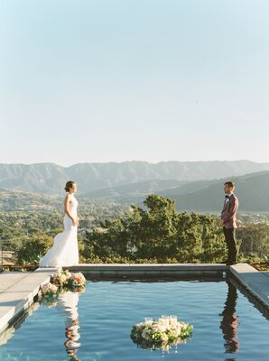 Romantic Couple with Mountains and Decorative Pool