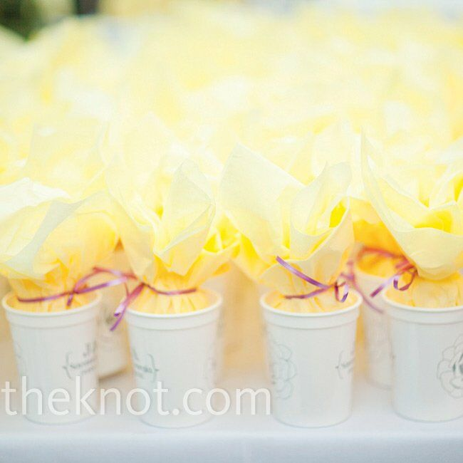 """Keeping with Savannah tradition, the couple made their guests popcorn-filled """"To Go Cups"""" designed by the bride."""