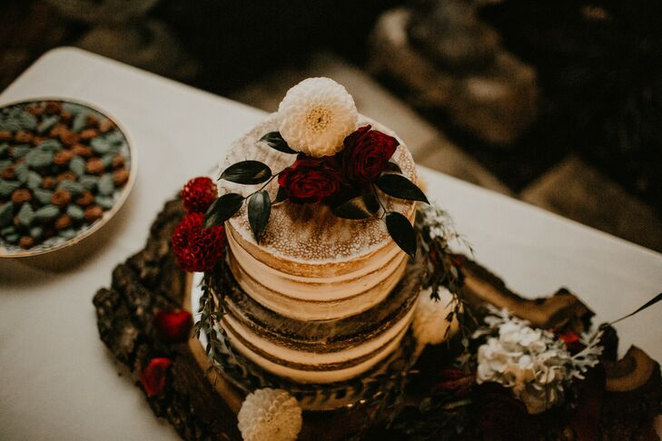 Rustic Tiered Cake Accented with Roses and Dahlias