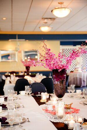 Pink Centerpiece in Purple Trumpet Vase